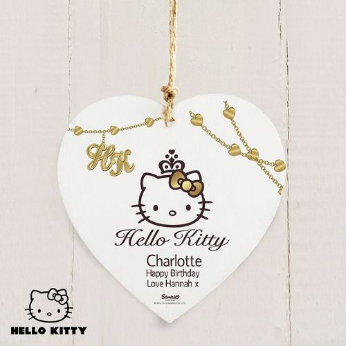 Personalised Hello Kitty Chic Wooden Heart Decoration
